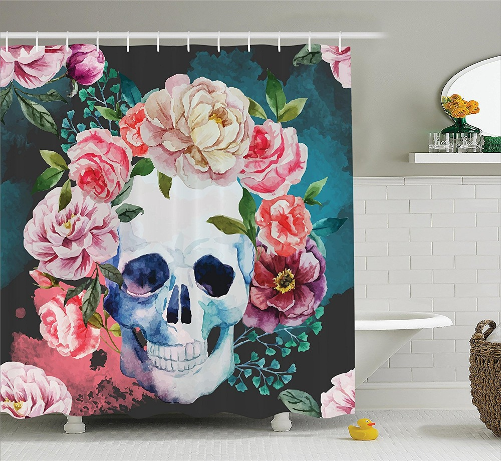 Halloween shower curtain - Big Flowers And Skull Design Skeletons All Saints Day Halloween Image Polyester Fabric Bathroom Shower Curtain Soft Purple Pink