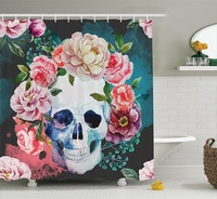 Big Flowers and Skull Design Skeletons All Saints Day Halloween Image, Polyester Fabric Bathroom Shower Curtain Soft Purple Pink