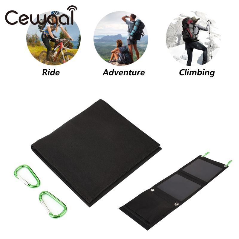 Cewaal 8W Portable Flexible Fordable Folding Monocrystalline Silicon Solar Panel Battery Charger Travel Outdoor