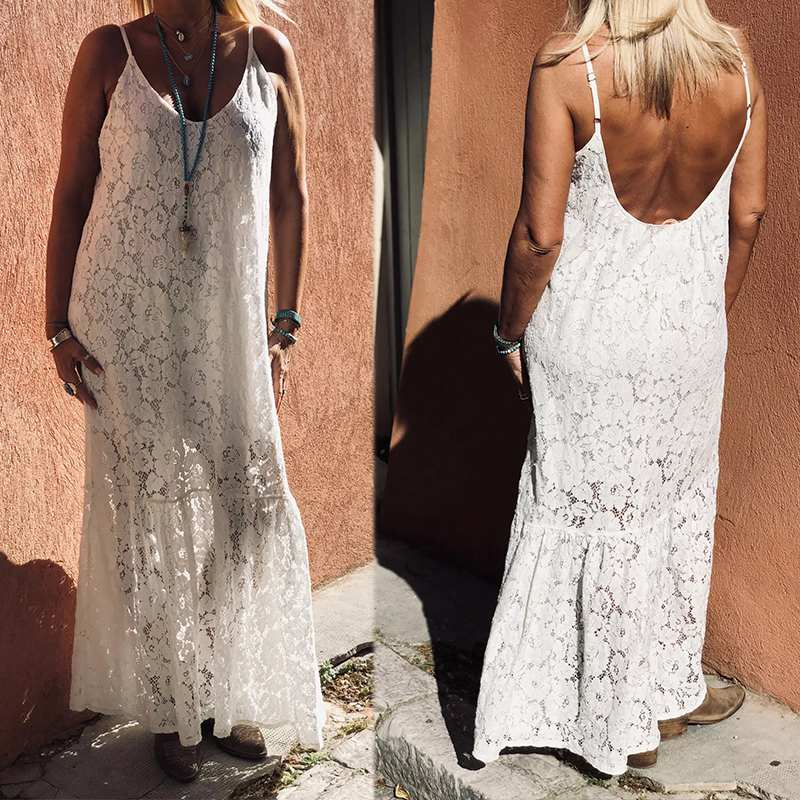 ZANZEA Summer <font><b>Lace</b></font> Crochet <font><b>Dress</b></font> Women <font><b>Sexy</b></font> <font><b>Backless</b></font> Straps Sundress Robe <font><b>Hollow</b></font> Out Party Vestido Ruffles Hem Beach Maxi <font><b>Dress</b></font> image