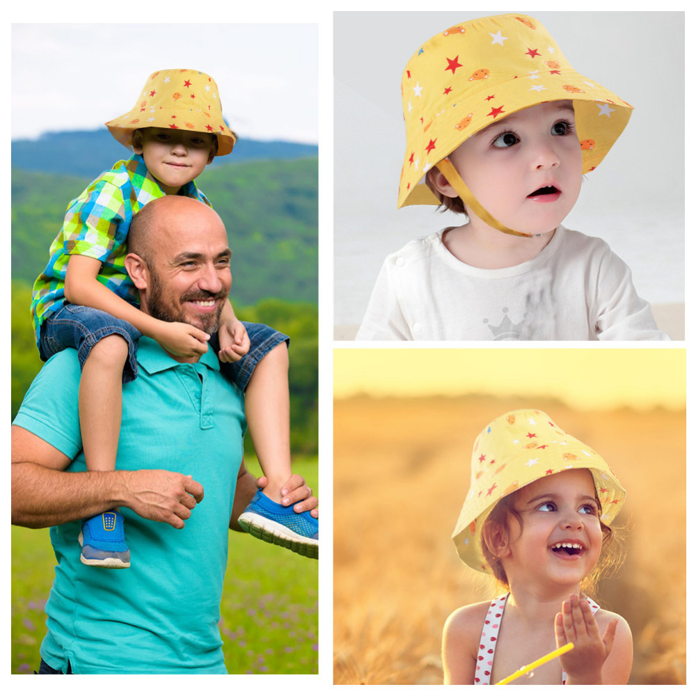14315195044 Vbiger Unisex Baby Kids Sun Hat Cotton Fisherman Hat Children Cool Star  Pattern Jean Sunhat with Chin Strap-in Hats   Caps from Mother   Kids on ...