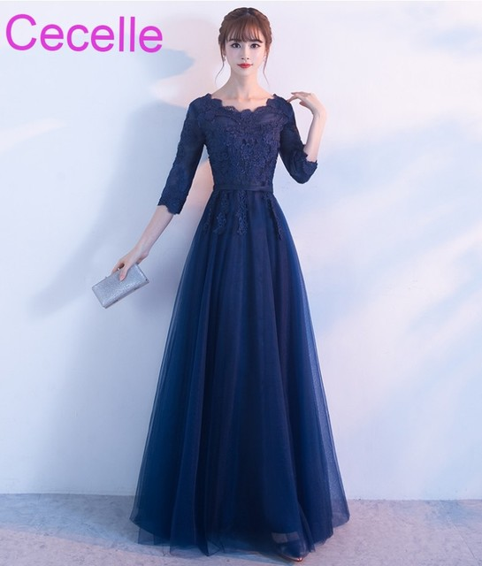 Navy Blue Long Modest Bridesmaid Dresses With 3 4 Sleeves A Line Floor Length
