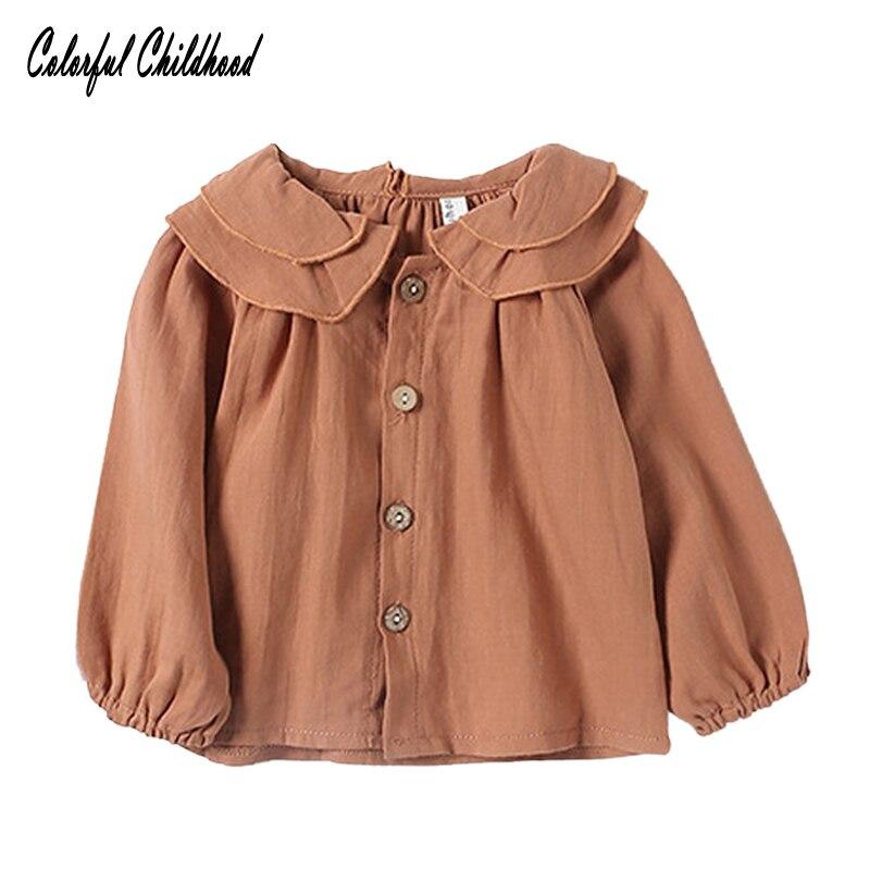 Baby Girls Blouse Ruffles Collar Cotton&linen Shirts Toddler Infant Kid Girls Sweet Match Tops&tee Children's Autumn Costume