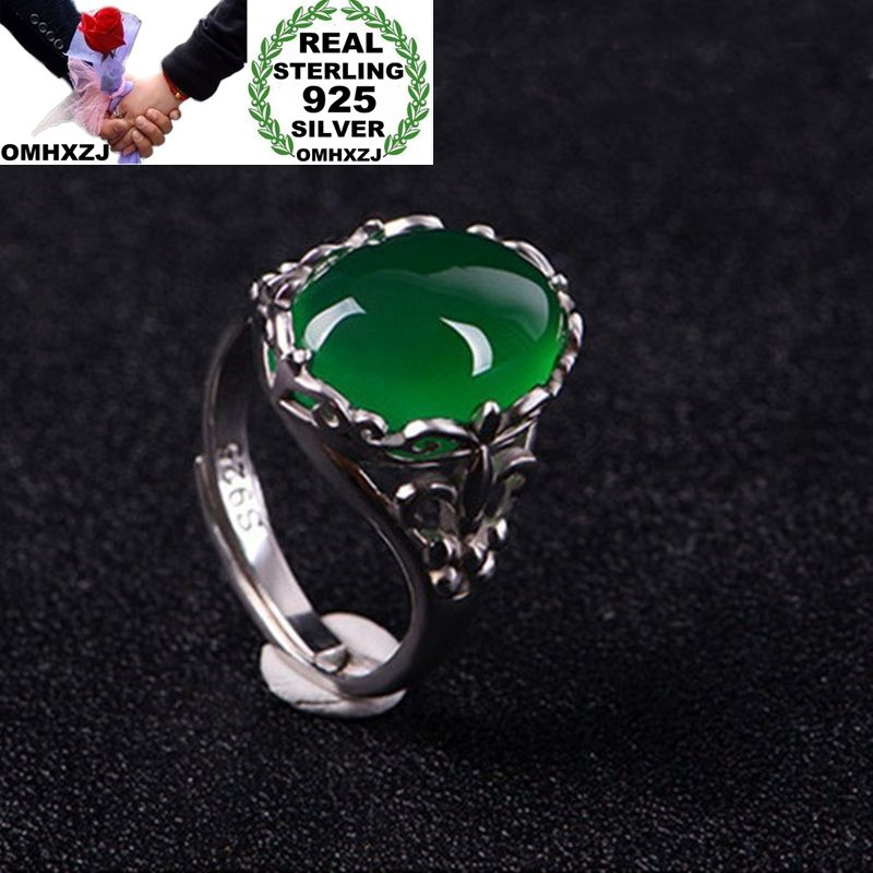OMHXZJ Wholesale European Fashion Woman Man Party Wedding Gift Silver Green Tourmaline S925 Sterling Silver Ring RR300
