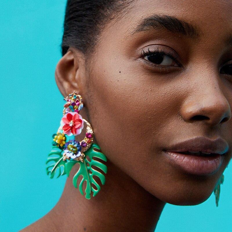 AOTEMAN 2019 new design Exaggerated Big Vintage Flower Statement Dangle Earrings For Women Boho Ethinc leaves Pendant Earrings σκουλαρικια φυλλα πρασινα