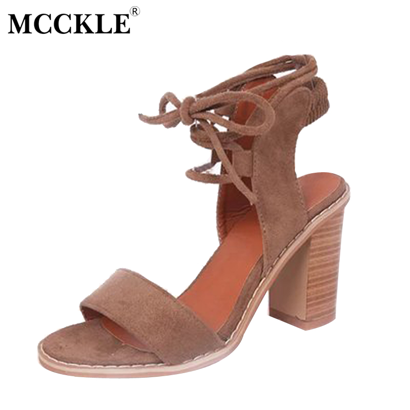 MCCKLE 2017 Fashion Women Lace Up Elastic Band Rome Gladiator Cross Tie Sandals Female Thick High Heels Open Toe Flock Shoes