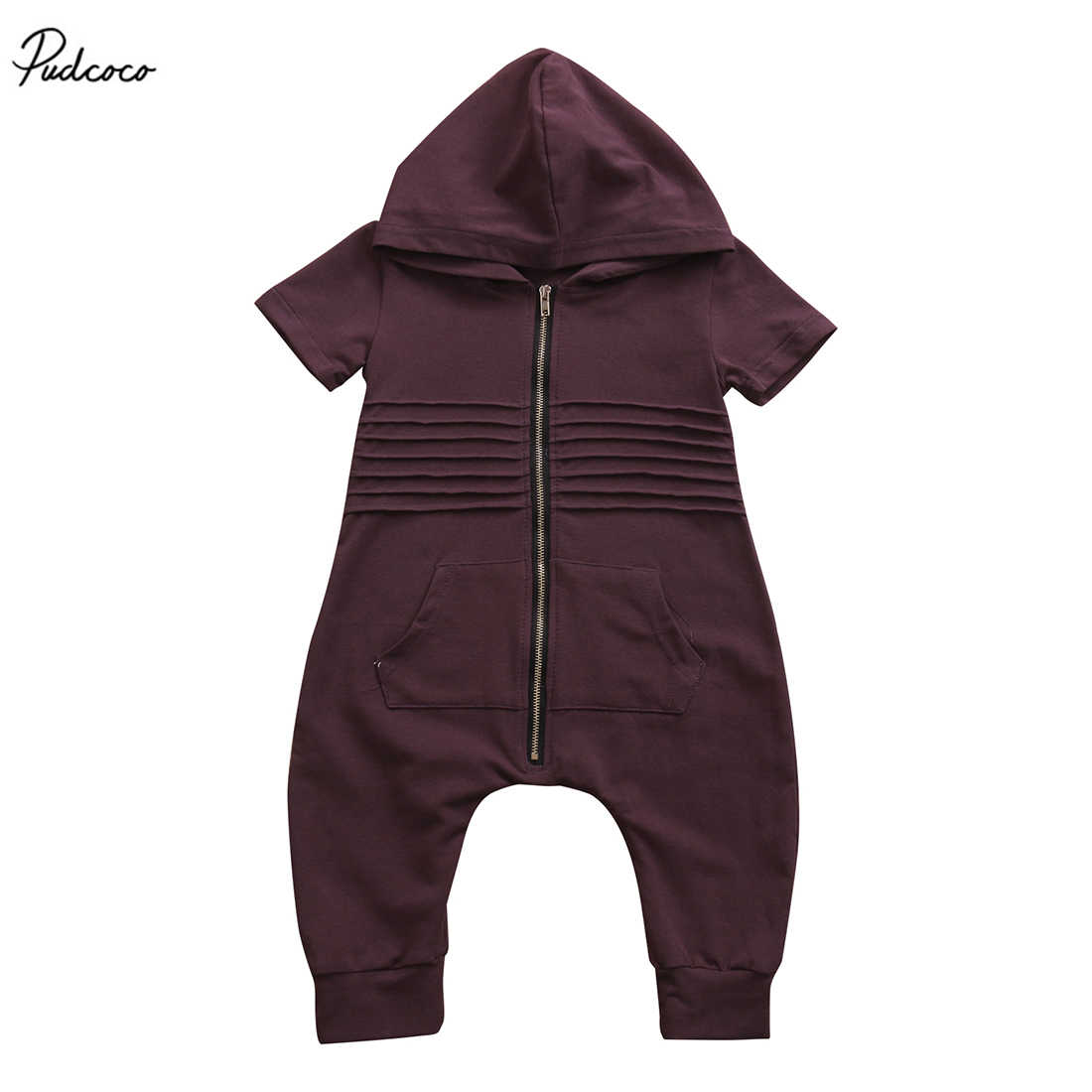 New 2017 Newborn Toddler Baby Boys Short Sleeve Hooded Zipper Romper Jumpsuit Playsuit Outfits Clothes