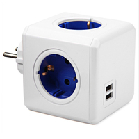 Smart Home Power Cube Socket EU Plug 4 Outlets 2 USB Ports Adapter Power Strip Extension