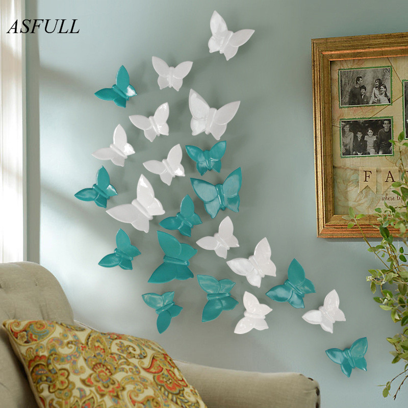 ASFULL 4Colors 3D Resin Butterfly For Wall Poster HOME Decoration TV Back Ground Wall Decoration Resin Artware Stickers