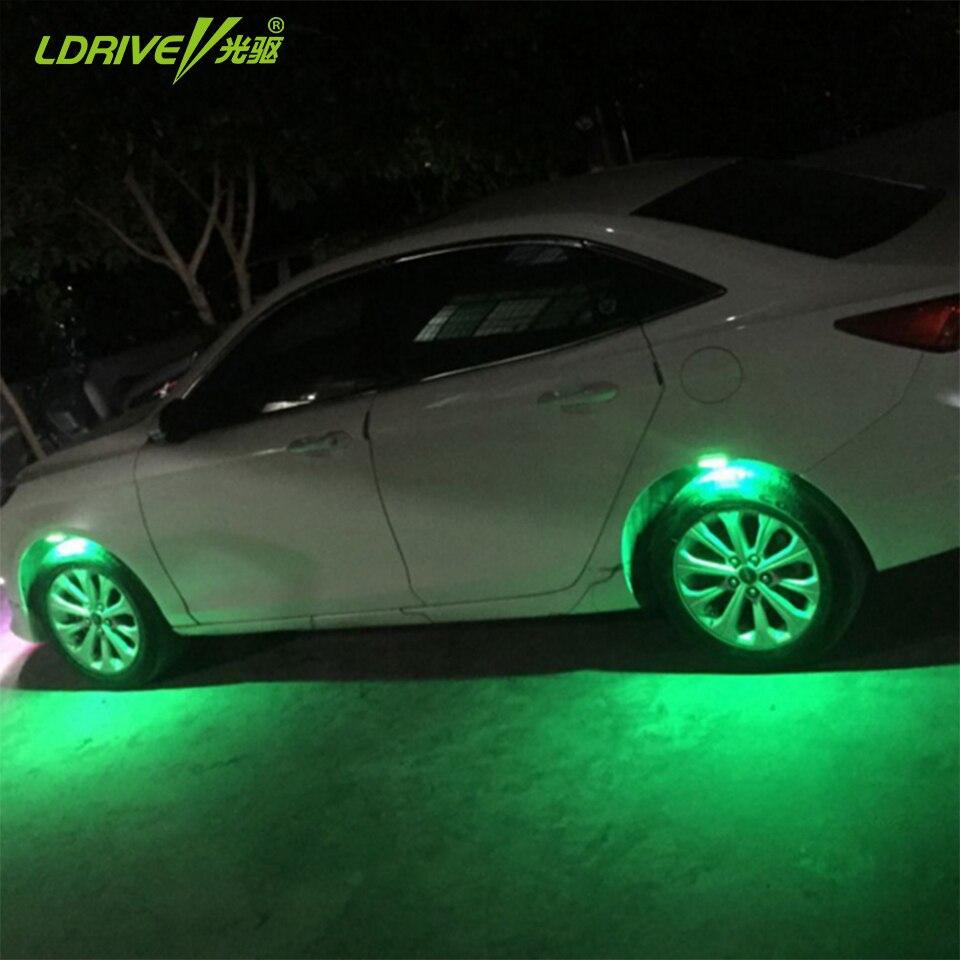 4pc/lot Universal Car Wheel light LED warning lights car body modified LED decoration lights wheel eyebrow atmosphere lights