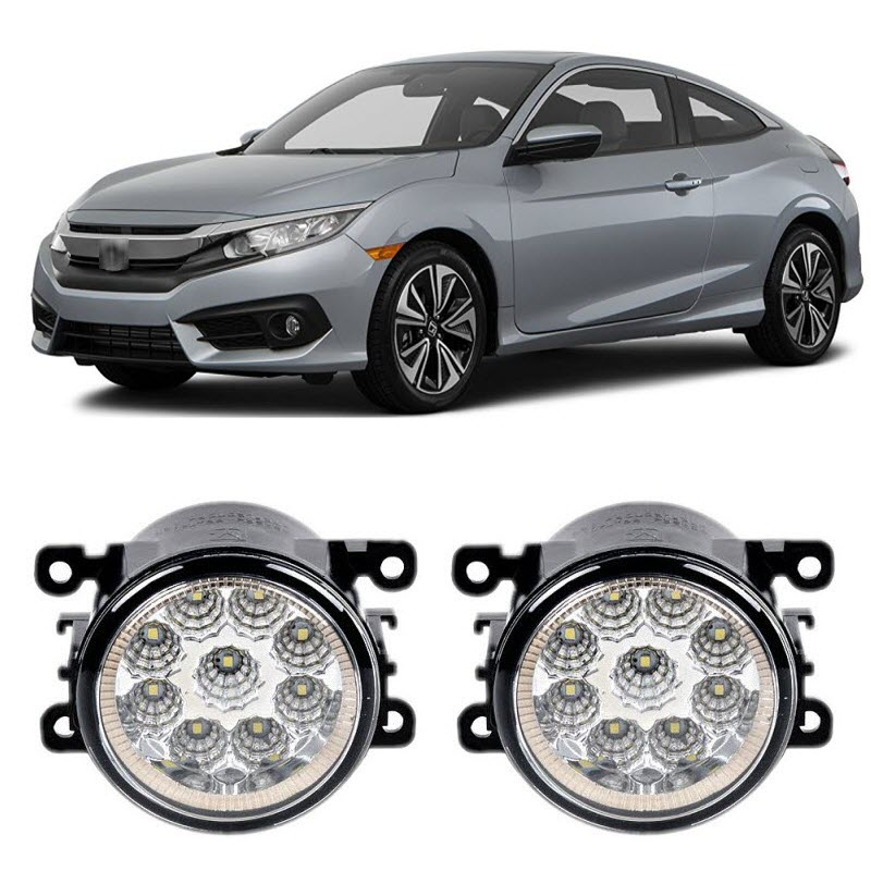 Car Styling DRL Daytime Running Lights For Honda Civic 2016 2017 9-Pieces Leds Fog Lights H11 H8 12V 55W LED Fog Lamp пороги rival bmw style hyundai ix35 2010 2013 2015 kia sportage 2010 2014 2015 круг 173 см крепеж 2 шт