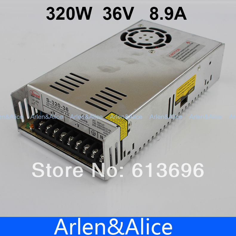 320W 36V 8.9A Single Output Switching power supply for LED Strip light AC to DC 110V 200V selected by switch 20w 24v 1a ultra thin single dc output switching power supply for led strip light smps