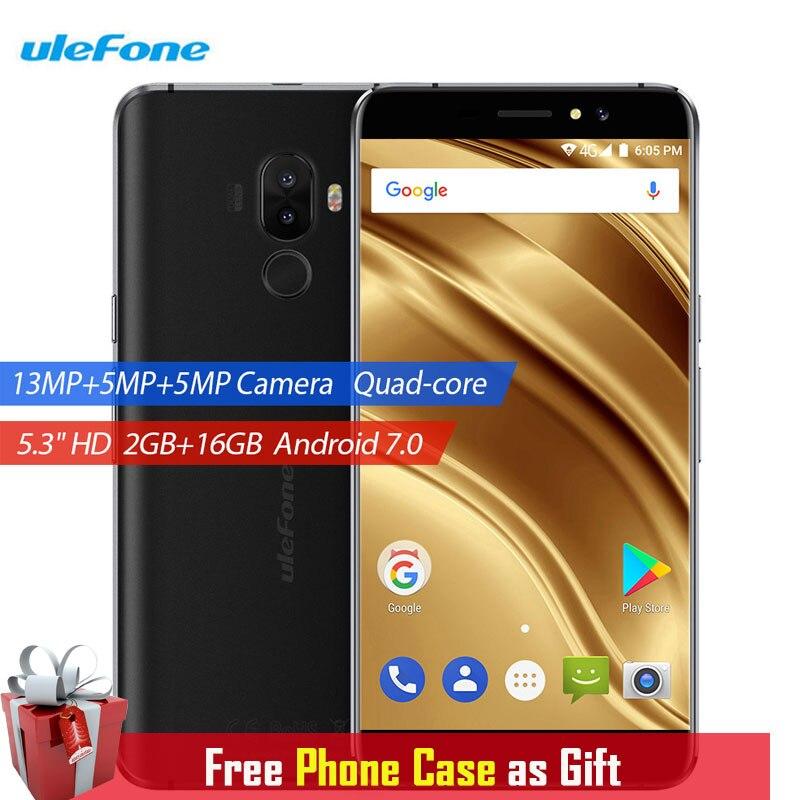 Ulefone S8 Pro Handy Dual Hinten Kameras 2 GB + 16 GB 13MP Android 7.0 MTK6737 Quad Core 5,3 zoll HD Fingerabdruck 4G Smartphone