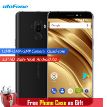 Ulefone S8 Pro Mobile Phone Dual Rear Cameras 2GB+16GB 13MP Android 7.0 MTK6737 Quad Core 5.3 inch HD Fingerprint 4G Smartphone