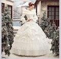 100% real reina de la nieve de encaje blanco con volantes de plumas medieval vestido renacentista sissi princesa dress belle victoriana balón vestido de cosplay