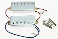 Chrome LP Guitar Mini Humbucker Neck Bridge Pickup Set 6 5K Pickups For LP