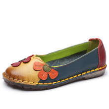 Summer Autumn Fashion Flower Design Round Toe Mix Color Flat Shoes Vintage Genuine Leather Women Flats Girl Loafer A006 все цены