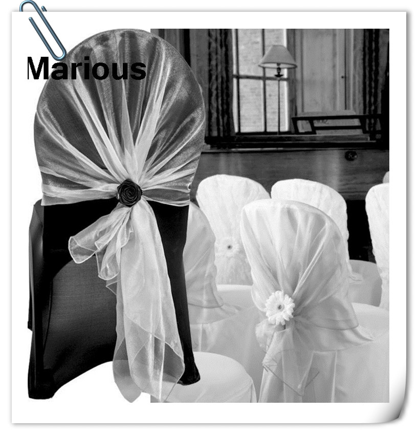 2017 HOT Sale !!! white 100pcs organza chair hood 60*200cm for Wedding Party FREE SHIPPING