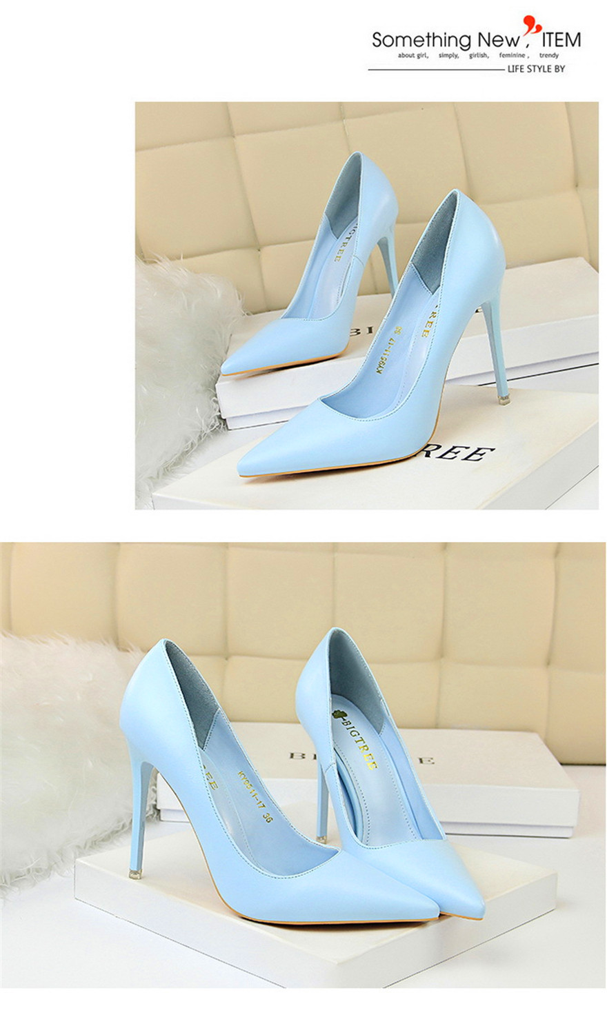 BIGTREE Soft Leather Shallow Fashion Women's High Heels Shoes Candy Colors Pointed Toe Women Pumps Show Thin Female Office Shoe 17