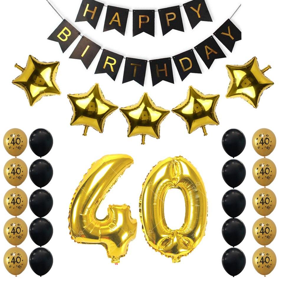 Amawill 40th Birthday Party Decoration Kit Happy Birthday Banner ...