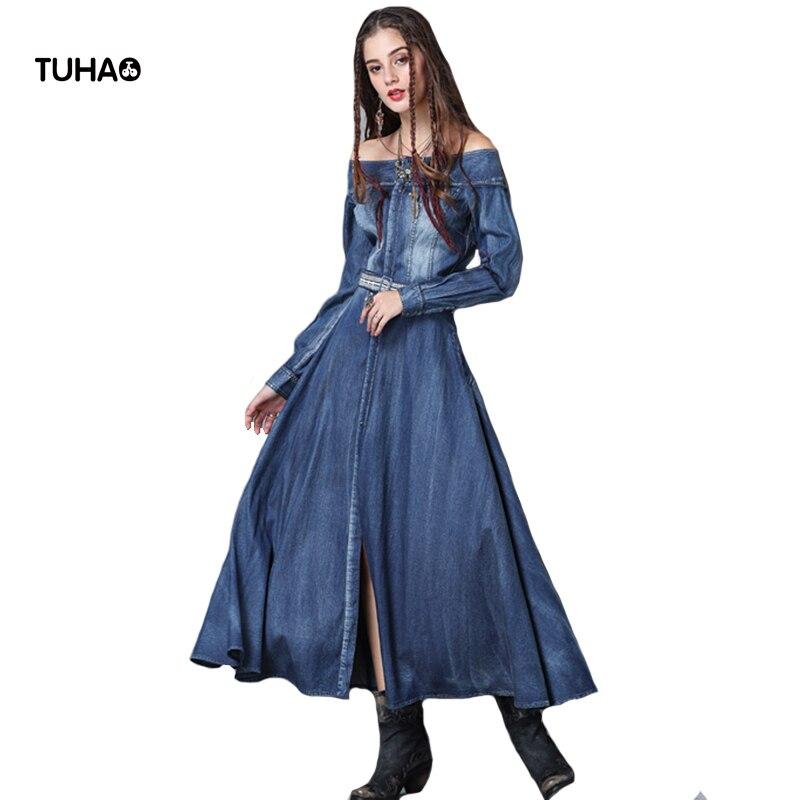 TUHAO Slim taille haute Slash cou Vintage Maxi robe femmes avant boutons de l'épaule robes en Denim avec ceintures T82050