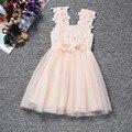 Princesa Girl Flower pink, bebés del cordón de Tulle vestido con la flor, cordón del verano del bebé vestido, 3 T vestido de la muchacha