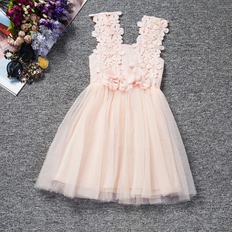 Princess Pink Flower Girl Dress Baby Girls Lace Tulle Dress