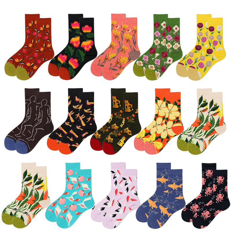 New Trend Fashion Designe Combed Cotton Women   Socks   Unisex Animal Flowers   Socks   Business Crew Happy Wedding   Socks   Women Gifts