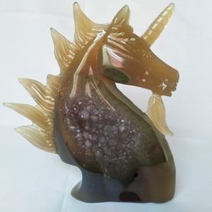 Image 3 - UNA pietra Naturale agata intaglio unicorno teschio di cristallo cristalli geode cluster creativo scultura decorazione della casa nobile e puro