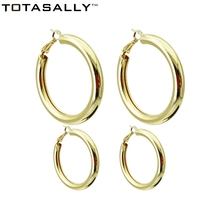 TOTASALLY Gold/ Silver Color Big Circle Hoop Earrings for Women Simple Metal Round Minimalist Jewelry Wholesale
