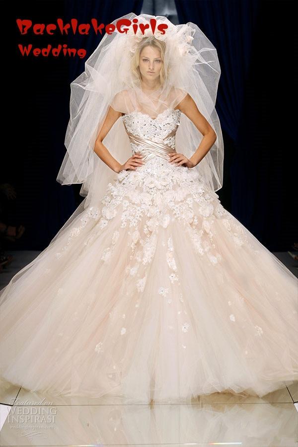 Tulle Light Pink Appliqued Bodice Floor Length Designer Strapless Wedding dress 2016 Dresses robe de mariage