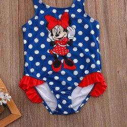 2017 Детский костюм, купальный костюм, купальный костюм в горошек, цельные костюмы для девочек, Танкини с рисунком мышки, От 1 до 5 лет для малыш... 3