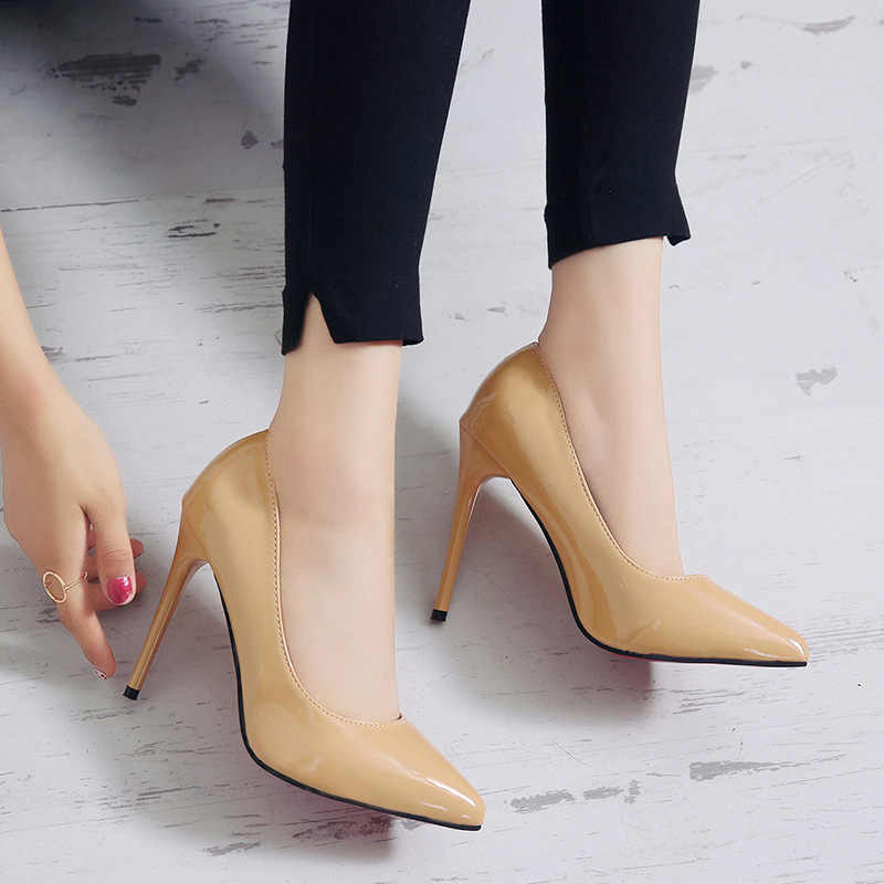 Punta-Cabeza de tacón alto Mujer 19 Otoño Invierno nueva piel laca sexy tacón fino boca baja zapato marea tacones y1011