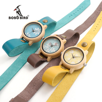 2017 BOBO BIRD M24 Women Wooden Watches Created Long Leather Strap Quartz Watches For Ladies With