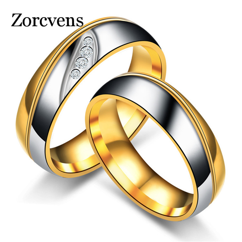 ZORCVENS Gold Color Titanium Stainless Steel Rings For Women CZ Stone Fashion Jewelry Wholesale titanium ring