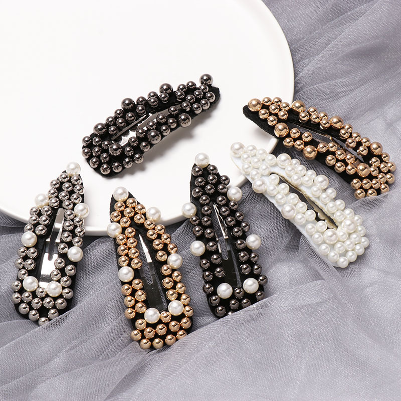 Details about  /Fashion Korea Women Metal Water Drop Crystal Pearl Hairpins Hair Clip Barrette K