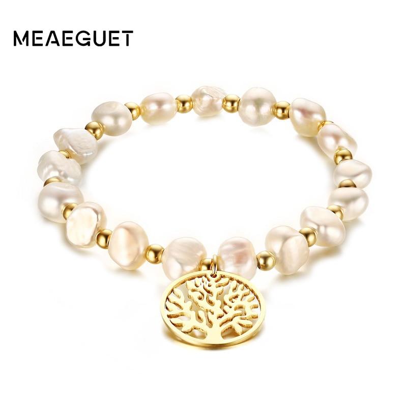 цена на Meaeguet Irregular Freshwater Pearls Bracelet Wishing Tree Pattern Stainless Steel Bracelets & Bangles For Women Party Jewelry