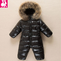 30 degree Russian winter Jumpsuit duck down baby Rompers fur infant girls boys Overalls hooded kids snowsuits warm baby clothe