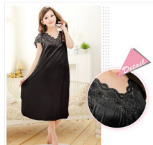 Free shipping women black lace sexy nightdress girls plus size bathrobe Large size Sleepwear nightgown Y02-2(China)