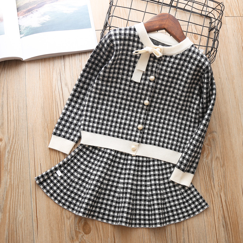 baby girls sweater clothing set knitted clothes suit shirt + Short skirt 2 pieces outfits Kids cotton Christmas wear 4 years 3T korean children s garment girl baby owl paillette sweater t shirt unlined upper garment short skirt you 2 pieces suit