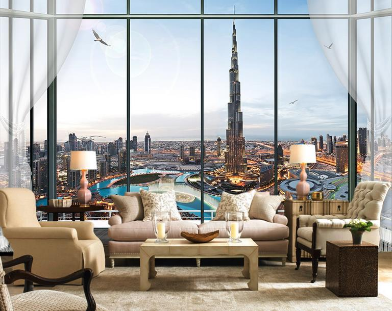 3d Room Wallpaper Mural Dubai City Landscape HD Photo Custom Non Woven Sticker Sofa TV