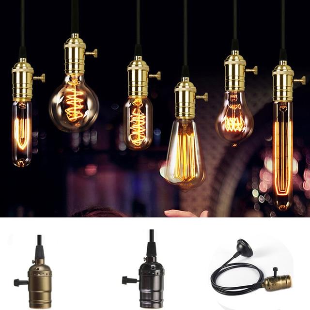 AC 110V 220V E26 E27 Lamp Holder Retro Vintage Antique Edison Brass Copper Lamp Light Bulb Pendant Lighting Socket