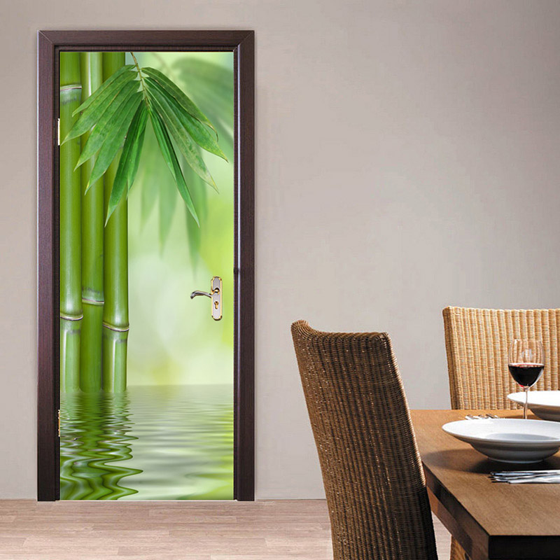Bamboo Forest 3D Door Stickers PVC Waterproof Self-Adhesive DIY Door Wallpaper Wall Decal Sticker Living Room Bedroom Home Decor