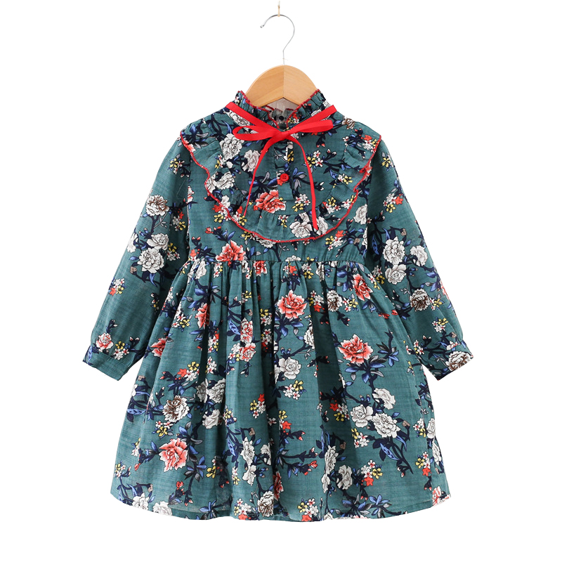 vintage print chiffon green party frocks for girl 2 -10 yrs baby girls long sleeve autumn winter floral dresses princess costume
