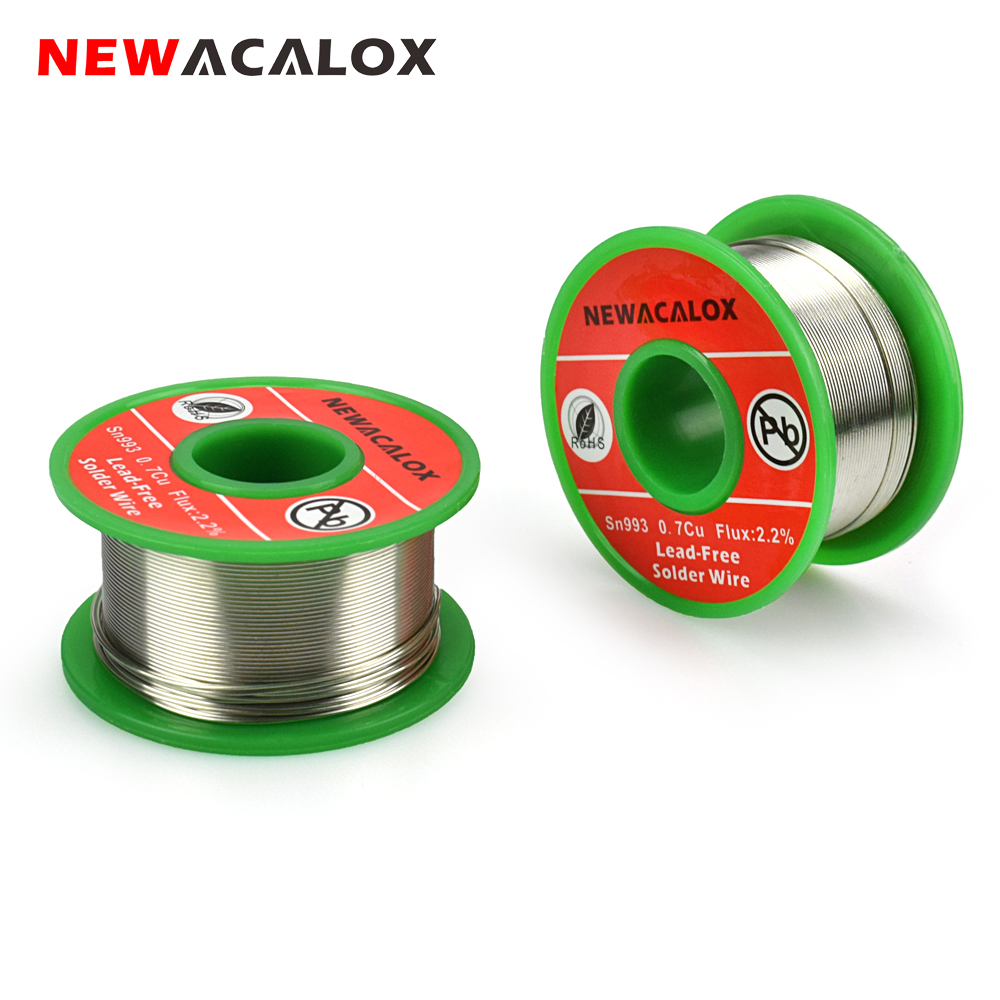 NEWACALOX 0.6mm  Lead Free Rosin Core Solder Wire Sn993 Pb007 Cu0.7 With Flux 2.2% For Electrical Soldering Free Of Washing