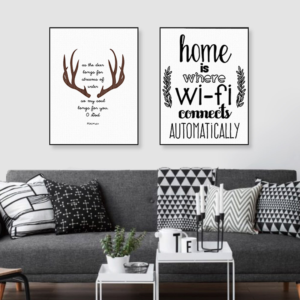 Modern nordic abstract deer home wifi quotes large canvas for Modern house quotes