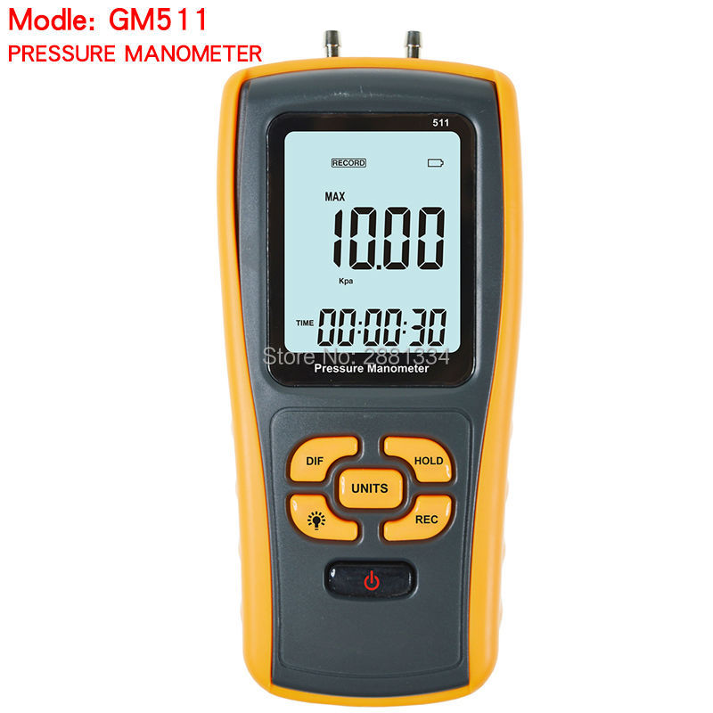 2017 HOT GM511 Portable USB Digital LCD Pressure Gauge Differential Pressure Manometer Measuring Range 50kPa Pressure manometer portable digital lcd display pressure manometer gm510 50kpa pressure differential manometer pressure gauge