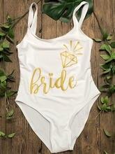 Женский слитный купальник невесты с золотым принтом 2018 купальный