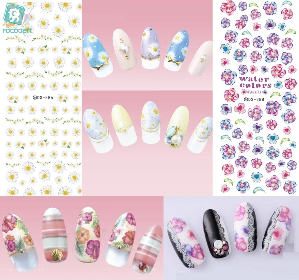 Rocooart DS385-408 2018 Spring Magic Flowers Water Transfer Nails Art Sticker Harajuku Nail Wrap Sticker Tips Manicura stickers bobi майка