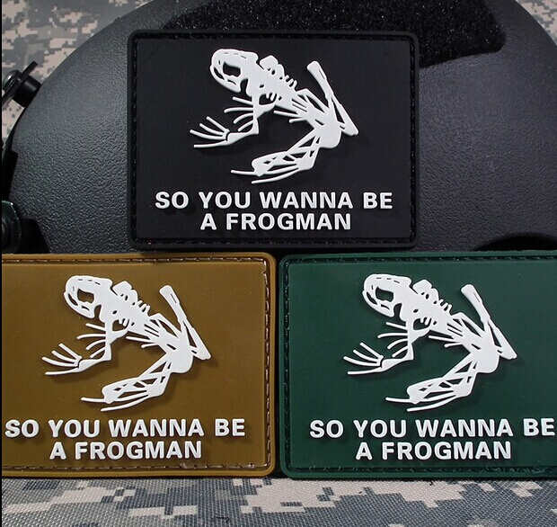 7.7*5.7CM Tactical Warface Frog Skeleton Frogman PATCH ARMY MORALE PVC RUBBER Patch Caps Adhesive Badge Military Armband